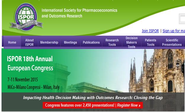 18° Congresso annuale europeo della Società Internazionale di Farmacoeconomia e Outcome Research (ISPOR)